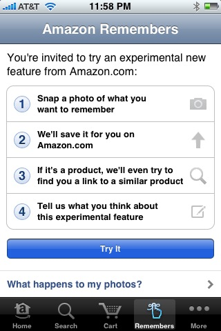 Amazon Remembers iPhone image, first screen